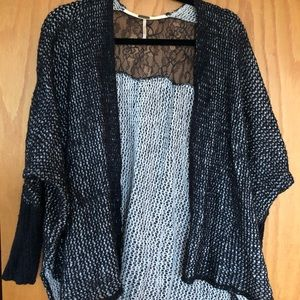 Black & White Cardigan with Lace | Free People